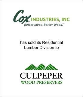 Genesis Capital Announces Family-Owned Cox Industries Sold its Residential Lumber Division to Culpeper Wood Preservers
