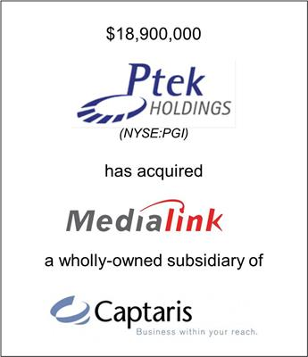 Ptek Holdings, Inc. Acquired MediaLinq, a Division of Captaris, Inc.