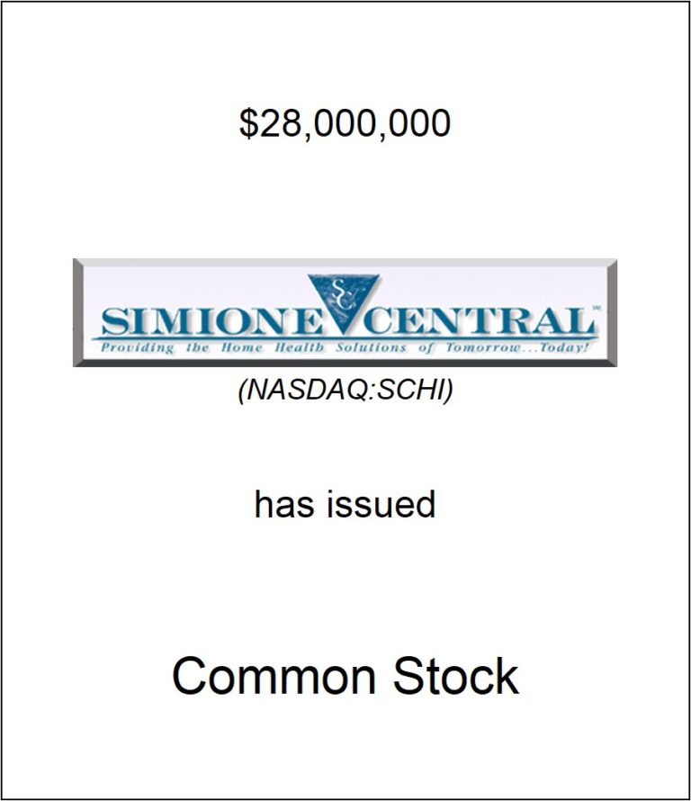 Simione Central Holdings, Inc. Has Issued Common Stock