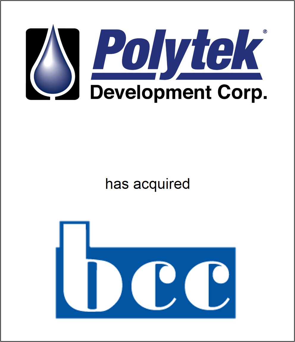 Genesis Capital Advises Polytek Development Corp. on its Acquisition of BCC Products, Inc.