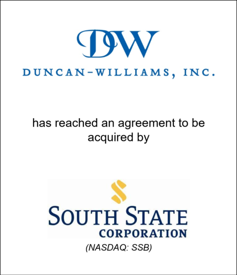Genesis Capital Advises Family-Owned Brokerage Firm Duncan-Williams on Announced Acquisition by South State Corporation (NASDAQ:SSB)
